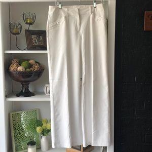White wide leg dress pants